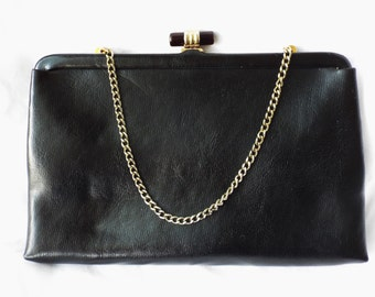 Ande' Black Faux Leather Arm Bag with Gold Hardware