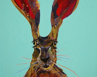 Hare painting - acrylic transfer from original collage on A3 canvas