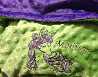 Personalized Minky Blanket with Name Embroidery