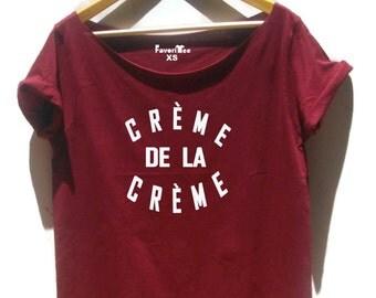 Creme De La Creme shirt Paris 80's fashion off shoulder white grunge shirt Celebrity top for women