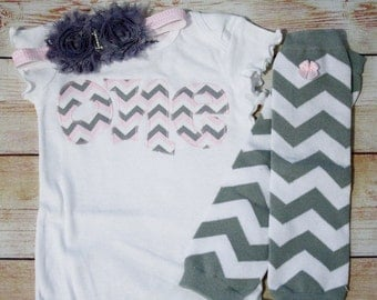 Pink and Gray Birthday Outfit / 1st Birthday Outfit / Cake Smash Outfit / Smash Cake Outfit / Girls Chevron Leg Warmers / First Birthday