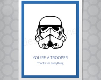 Funny Illustrated Star Wars Storm Trooper Thank You Card