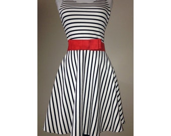 Navy and White Stripe Dress Sundress, Stripe Dress, Stripe Sundress, Navy Dress, Navy White Dress, Stripe Fit and Flare Dress,