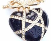 Rhinestone Heart Brooch, Black Enamel Pin, Retro Vintage Jewelry, SUMMER SALE