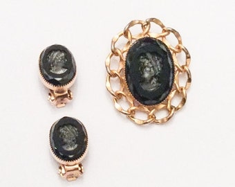 Reverse Carved Cameo, Black Lady Brooch With Earrings, Vintage in Jewelry, SUMMER SALE