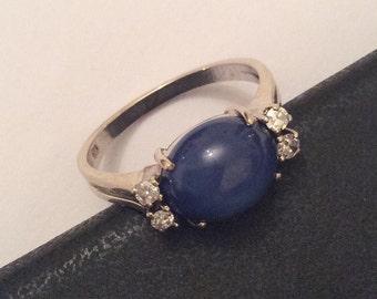 Art Deco Diamond Ring, Star Sapphire Cabochon, 14K Gold, Vintage Jewelry, SALE