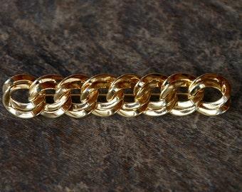 Vintage MONET Brooch Curb Chain Link Bar Brooch Shiny Gold Tone 1980's // Vintage Designer Costume Jewelry