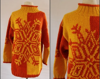 Vintage, Wool, Sweater, NORDIC style, 80s