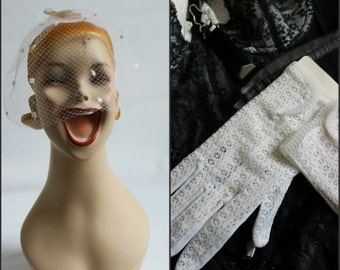 Bridal set,  mid century glove and mini veil set