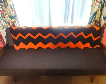 Vintage Orange & Brown 1960's Hand Crocheted Afghan Zigzag crochet throw mid century modern retro mad men fall colors hippie 1970's