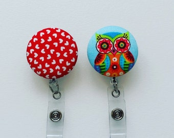 CLOSING SALE  Owl and Hearts Fabric Covered Button Badge Ree - Badge Reel  - Nurse Badge - ID Holder - Name Badge Holder