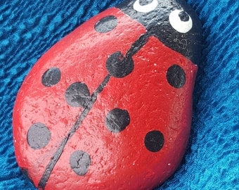Painted rock, Lady Bug, Paper weight, hand painted. red and black. pet rock, #19