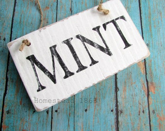 Mint  Wood Sign, Mini Reclaimed Wood Sign, Rustic Wooden Herbs Sign, Farmhouse Decor, Farm Sign, Country Kitchen Sign, Farmhouse Sign
