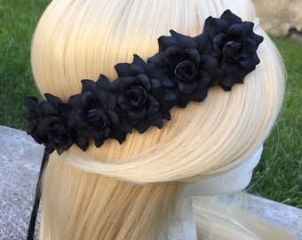 Pre-Order Black Rose Pearl Band Goddess Flower Crown Headband