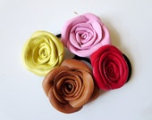 Floral hair accessory violet flower leather Rose hair tie  Ponytail Holder