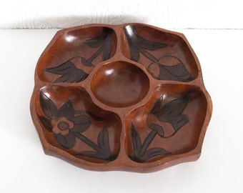 Vintage Wooden Floral Carved Snack Serving Tray Chip and Dip Tiki Boho 1970s