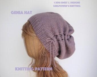 Gathered Hat Knitting Pattern, Scrunch Slouch Hat, Slouchy Beanie, Women Teen Girls Trendy Chic Fashion