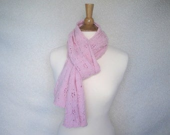 Luxury Knit Scarf, Pale Pink, Natural Fiber Alpaca Angora Wool, Women Teen Girls, Star Lace