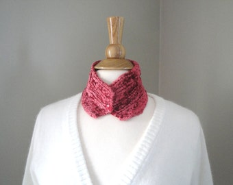 Neck Warmer Scarf, Coral Pink, Button Cowl, Choker, Collar Scarf, Velvet Chenille Velour, Luxury Knit