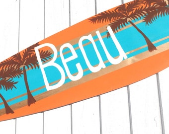 Custom Beach Signs, Surfboard Art, Boys Bedroom Decor - 36 inch