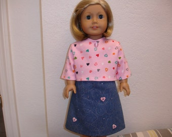 "American Girl 18"" Doll Style Clothes 2 pc Pink Heart Knit  T-Shirt Top & Long Denim Skirt"