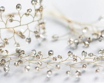 413_Gray crystals jewellery, Bridal jewellery set, Gold crown, Gray crystal bracelet, Gold jewellery, Wedding set Vine jewellery Accessories