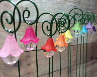 Fairy garden lantern miniature garden accessory set of 2 hanging lantern flower style with shepherds hook