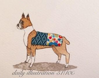 "Daily Illustration # 51/100 ""Boxer"" Original Hand Drawn Art"