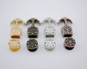 4 Colors--5 Sets 9.8x5.5mm Anchor Hook Clasp with Wheel Curved for Wrapping Leather Bracelet Design--CLP1218