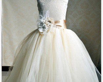 Champagne lace and tulle flower girl birthday dress
