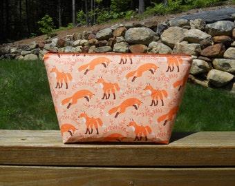 Large Makeup Bag, Foxes on Orange, Foxy Makeup Bag, Washable Makeup Bag, One of a Kind