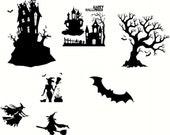Halloween Vinyl Decals  Set