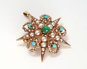 Large Victorian 14K Gold, Turquoise, and Seed Pearl Star & Crescent Moon Brooch / Pendant
