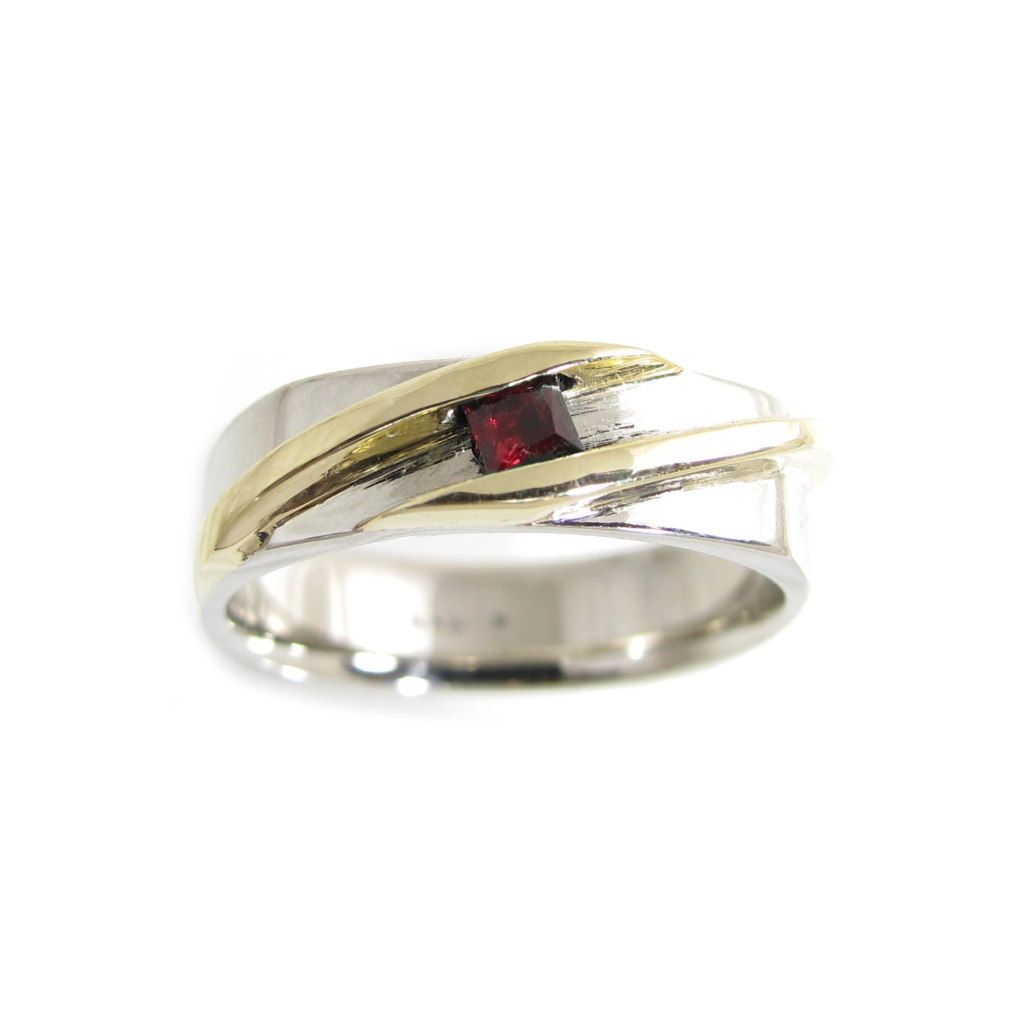 Gold Ruby Mens Ring Two Tone Gold Ring Mans Ruby Ring