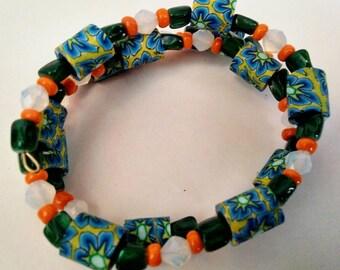 Clay Bead Bracelet with Moon Stones