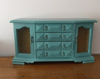 Large Vintage Distressed Wooden Prestige Jewelry Chest  Dark Turquoise habby Chic Cottage Chic