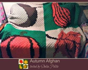 C2C Graph, Autumn Square Afghan, C2C Graph,  Written Word Chart, Autumn graph, Autumn c2c, c2c afghan