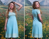 60s PASTEL Aqua Floral KNIT Midi Day DRESS Stretchy Spring