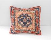 Vintage Boho Throw Pillow - Needlepoint Cross Stitch Embroidered Pillow - Orange Blue Cross Stitch Pillow - Medallion Center - Velvet Back