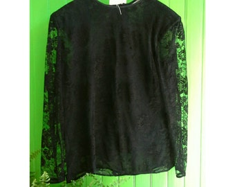 Superb vintage black lace top by Valentino.