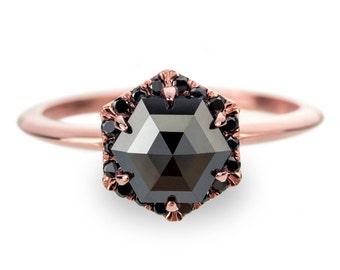Black Diamond Rose Gold Engagement Ring, Hexagon Halo
