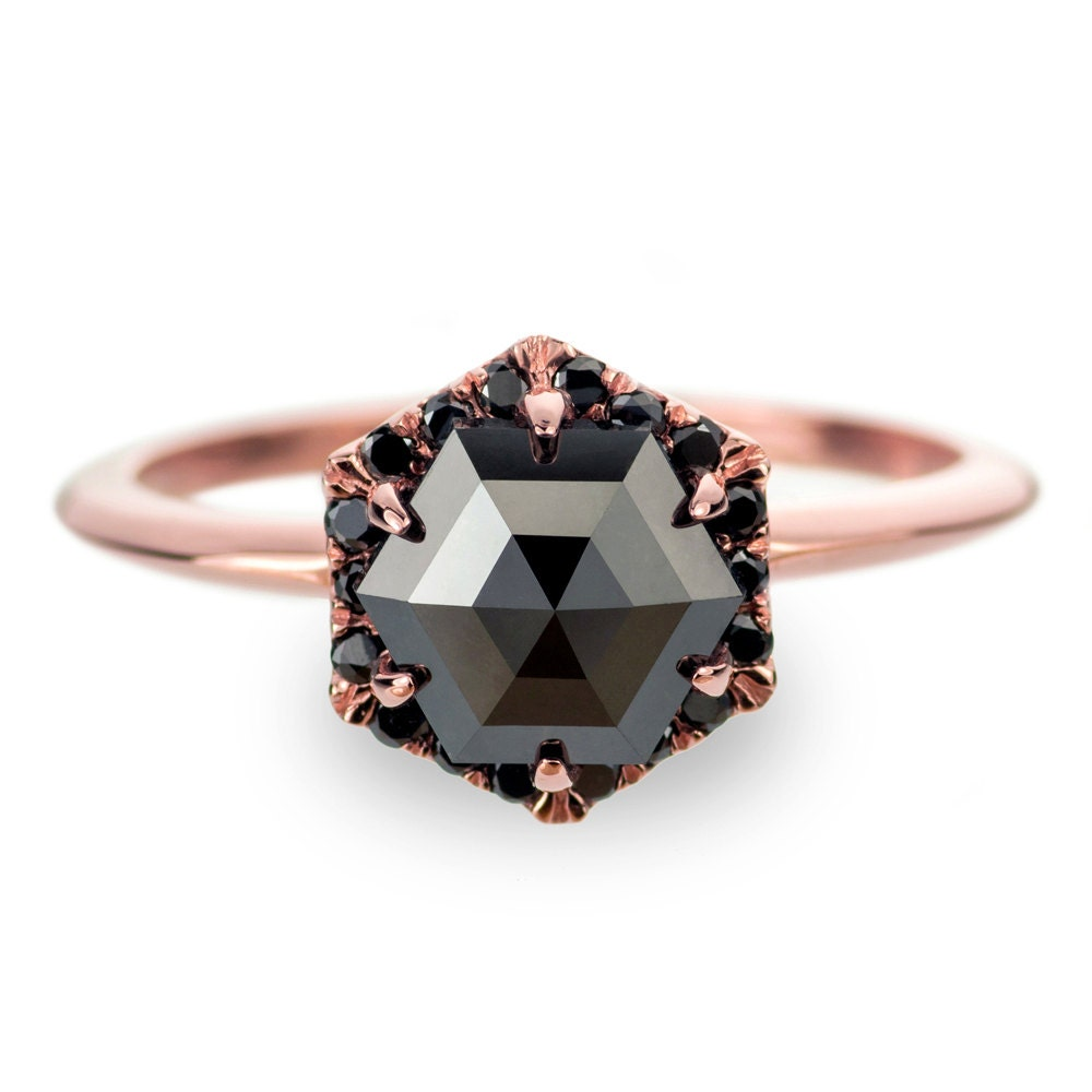 black diamond rose gold engagement ring hexagon halo. Black Bedroom Furniture Sets. Home Design Ideas