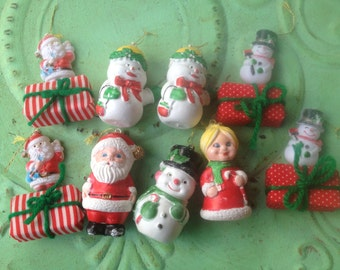 Vintage Kitschy Christmas Ornaments, Plastic Vintage Ornaments, Christmas Home Decor Vintage