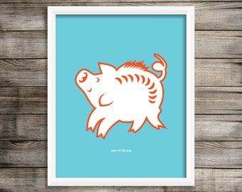 Year of the Pig Modern Home Decor Wall Art  8X10 ~ Digital Download