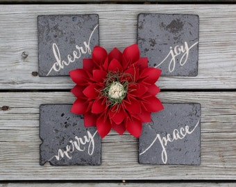 Rustic chalkboard style stone coasters Dinner Party Gift Hostess Gift Merry script Christmas wedding rustic wedding gift Hand lettered Font