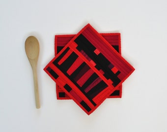 Red Pot Holders, Modern Potholders, Red & Black Table Decor, Set of 2, Red and Black Trivet