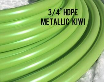 "Metallic Kiwi 3/4"" HDPE Dance & Exercise Hula Hoop COLLAPSIBLE push button - lime iridescent green"