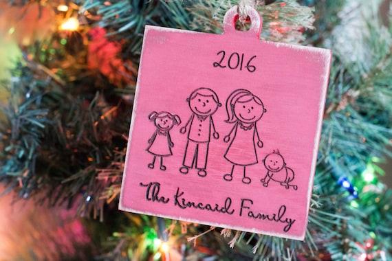 Family Christmas Ornament, Family Members, Personalized Ornament with Year, Wood Ornament, Christmas Gift