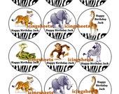 Safari Jungle animals Edible cookie toppers cupcake tops party decoration birthday tranfers 1 dozen