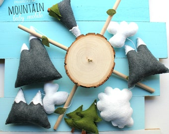Mountain Baby Mobile - Clouds - Forest - Woodland baby mobile - Nature - Baby Shower - Adventure Begins Nursery - Neutral Nursery